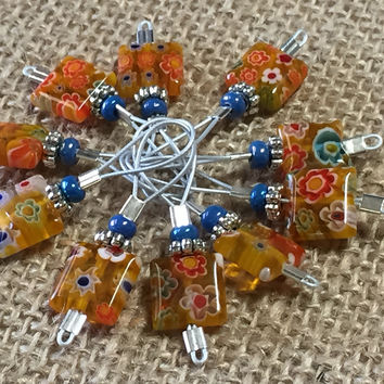 Yellow with Flowers Wire Loop Stitch Markers