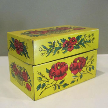 Recipe Box , Vintage Recipe Box , Metal Recipe Box , Floral Recipe Box , Yellow File Box , 3 x 5 File Box , Yellow Recipe Box