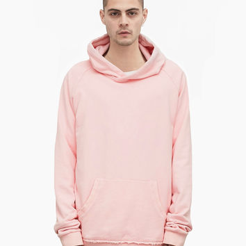 Oversized Pastel French Terry Hoodie in Light Pink