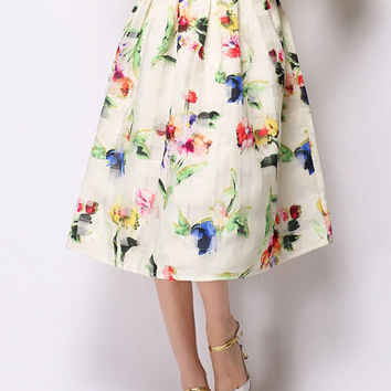 Off White Floral Printed Midi Organza Skirt