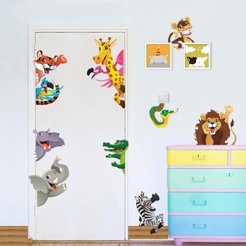 Jungle Animals Giraffe Lion Tiger Elephant Rhinoceros Pvc Wall Stickers For Kids Rooms Baby Home Decor Cartoon Animals Decals