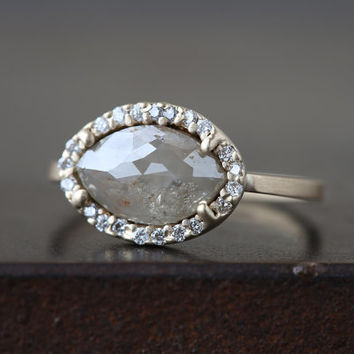 Natural Rose Cut Marquis Diamond Ring with Pave Halo