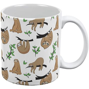 Sloth Pattern Nature Leaves Cute All Over Coffee Mug