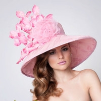Couture Derby Hat, Pink  Lampshade hat, Easter Hat