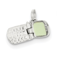 Sterling Silver Enameled Cell Phone Charm QC7085