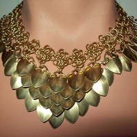 Bellydance, chainmaille, necklace, bellydance jewelry, scalemail, choker, tribal, larp, elven, medieval, dragon, costume
