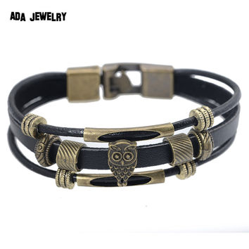 Hot Owl Charm Bracelet Wristband Punk Style Men Women Vintage Multilayer Genuine Leather Wrap Bracelet Bangles Fashion Jewelry