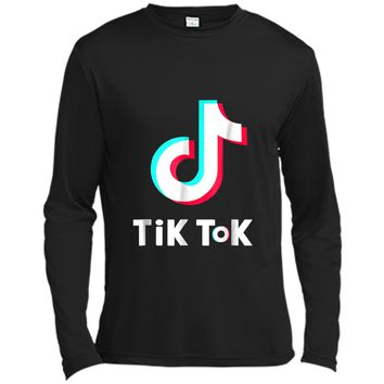 Tik-tok- Dancing with music Long Sleeve Moisture Absorbing Shirt