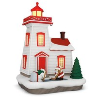 Holiday Lighthouse Ornament With Light