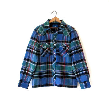 Vintage 1980s Wrangler Plaid Quilted Pearl Snap Button Down Flannel Jacket Shirt Sz L