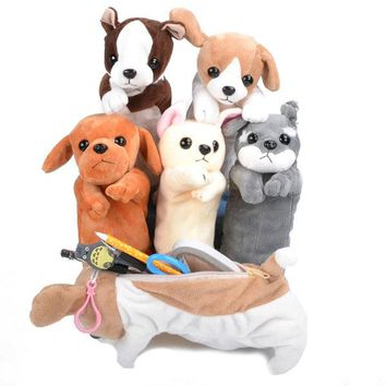 Cartoon Plush Simulation Dog Pen Bag Pencil Zipper Stationery Bag Soft Plush Cosmetic Makeup Storage
