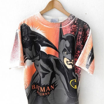 BIG SALE 25% Vintage 90's BATMAN & Robin Returns Marvel Dc Comics Superheroes Television Movies Punk Cartoon T shirt