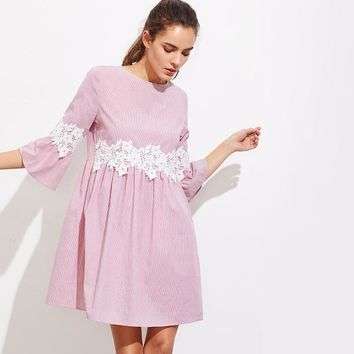 Pink Floral Lace Striped Smock Summer Day Mini Dress