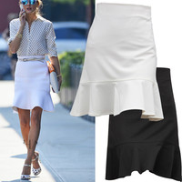 2016 new arrival spring and summer ruffle medium-long  wave fish tail pencil skirts SMLXXXXL
