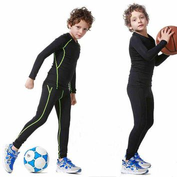 DCCKH6B 2017 New Kids Boys compression runing pants shirts set survetement football youth soccer basketball sport skinny tights leggings