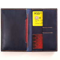 Leather bifold passport holder in blue (handmade slim travel wallet from full grain vegetable tanned leather)