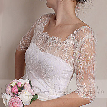 Wedding  bolero  solstiss Lace/ wedding jacket/ shrug/bridal lace top  V back 3/4 sleeve