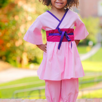 Little Girls Mulan Costume, Pink Outfit with Kimono Top and Girls Bloomers, Toddler Girls Costume, sizes 1T to 8 years, Birthday Outfit