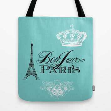 Bonjour Paris Tote Bag by Color and Form | Society6