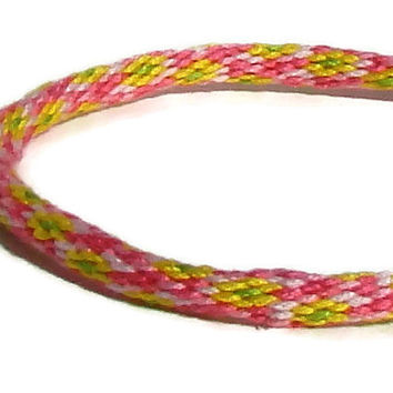 Pink and yellow flower pattern friendship kumihimo bracelet with or without purchased magnetic clasp-- your choice