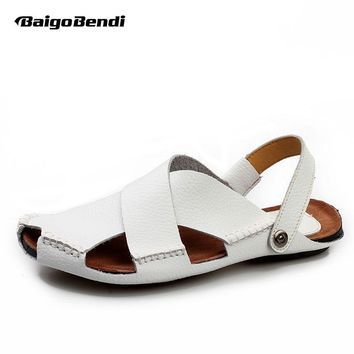 US 6 -10 Men Real Leather White Casual Close Toe Slipper Back Strap Sandal Summer shoes Beach Slides