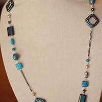 Handmade Teal Turquoise Long Beaded Necklace Gunmetal Silver