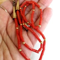 Vtg Red Coral Gold Bead Single Strand Necklace Southwestern GF Cone FlowerMark