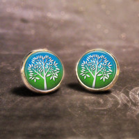 Summer Tree Earrings : Blue & Green