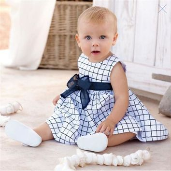 Baby Girls 0-3 Years Toddler Kids Cotton Plaid Dress Outfits Clothes Set X5 H2