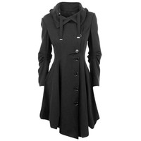 Black English Goth Winter Trench Pea Coat with Elegant Design Details