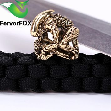 New Paracord Beads Metal Charms Skull For Paracord Bracelet Accessories Survival,DIY Pendant Buckle for Paracord Knife Lanyards