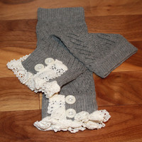 Lacy Cable Knitted Boot Cuffs, Knitted Boot Cuffs, Knit Boot Toppers, Lace Boot Toppers, Lace Boot Cuffs