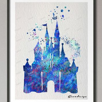 DIY Original watercolor Princess Cinderella Blue Castle canvas painting wall art poster print pictures kids room Home Decoration