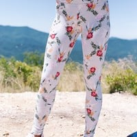 Highwaist Floral Print Legging, Grey Multi