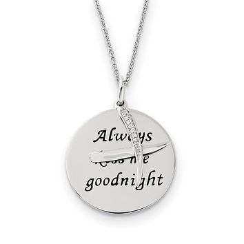 Rhodium Plated Sterling Silver & CZ Always Kiss Me Goodnight Necklace