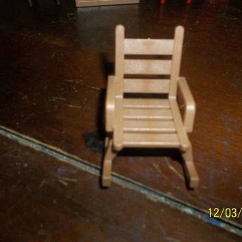 vintage playmobil geobra doll house brown rocking chair furniture