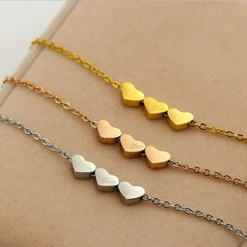 Stainless Steel Three Love Heart Pendant Collar Necklace Women Fashion Luxury Brand Choker Statement Necklace Silver Jewelry