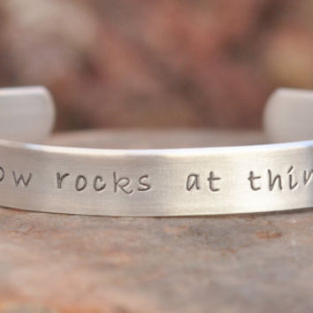 Taylor Swift inspired -  Hand stamped bracelet - People throw rocks at things that shine