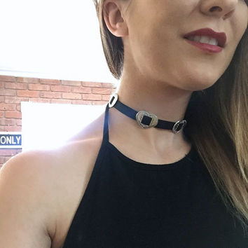 Heart Concho Black Choker Necklace Silver Adjustable Chain Chokers 1990s Style 90s Fashion Azeetadesigns Azeeta Designs