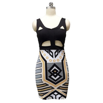 2015 New  Women Fashion Summer Sexy Deep V-Neck Metal Printing Stitching  Dress Mini Club Party Dress. = 1667797700