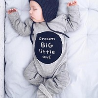 Infant Clothes Baby Boy Girl Cotton Romper Newborn Letter Print Long Sleeve Jumpsuit Toddlers Kids Clothing