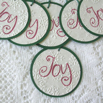 Christmas Gift Tags - Stamped JOY Gift Tags - Embossed Rustic Gift Tags Handmade - Set of 12 Double Layer Tags