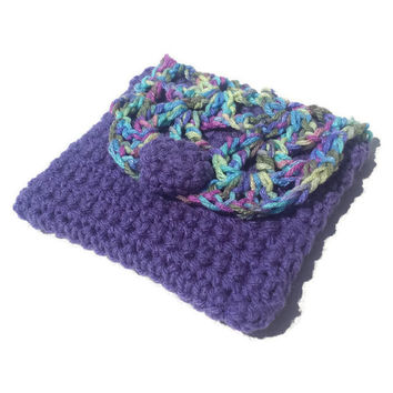 Purple Multicolor Handmade Crochet Pouch Fabric Boho Crocheted Cosmetic Makeup Clutch Bag Lined Bags & Purses Womens Gift Woman Purse