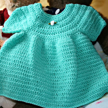 Baby crochet dress hand made baby girl clothes crochetyknitsnbits sleeves aspen green layette baby shower gift new born baby 0 to 6 months