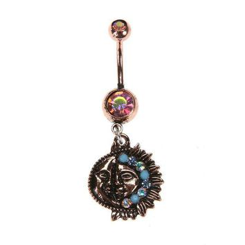 ac PEAPO2Q Vintage Retro Sun Moon Tophus Dangle Piercing Belly Button Ring (Antique Brass) Crystal navel piercing 2017 Body Jewelry