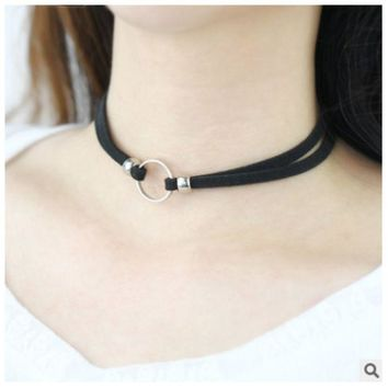 ONETOW South Korean circle black neck chain imitation deerskin flannelette collar girl with a short style necklace Choker
