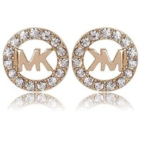 Swt Fashion Pretty Circle Earrings Rose Gold