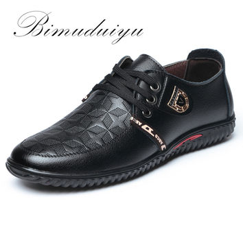 Luxury Breathable Soft Men Casual Leather Shoes Lace-up Flat Black Shoes Hombre