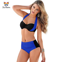 2016 Sexy Bikini Swimsuit Women Push Up Swimwear Patchwork Bikini Set Wrap Top Bath Suit Swim Biquini