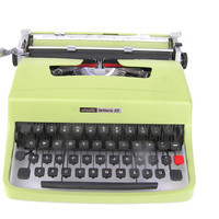 Typewriter light green great working condition serviced new ribbon Olivetti Lettera portable vintage office decor